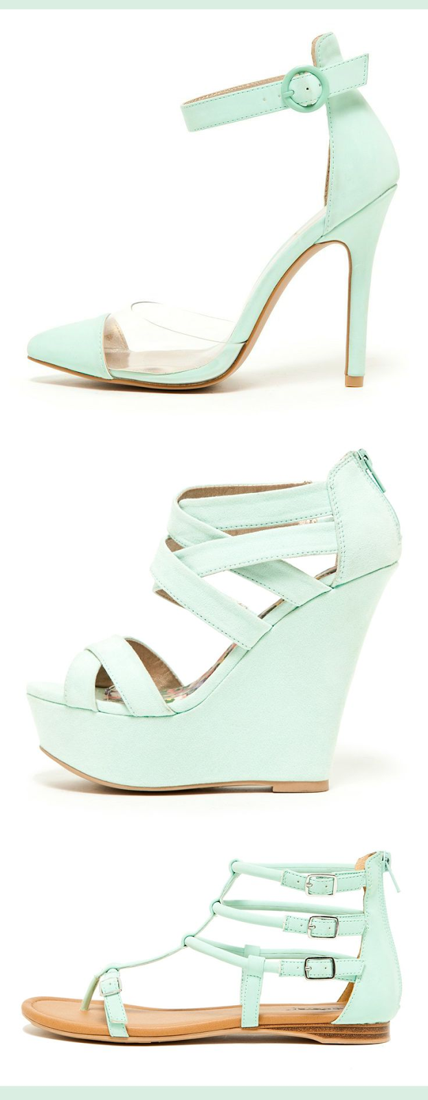 Mint Heels, Wedges, and Gladiators