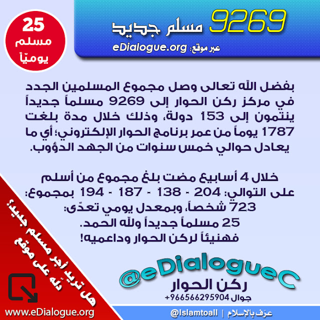 بشرى: 9269 مسلماً جديداً، موقع: www.eDialogue.org، مركز ركن الحوار