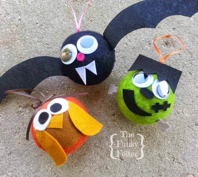 Owl Bat And Frankenstein Felt Ball Halloween Character Kids Craft Projects