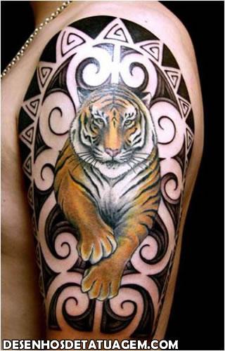 Tatuagem de Tigre estilo Maori