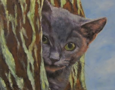 Blue Boy a feral kitten in oils SOLD!