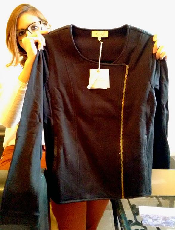 Chaqueta negra Marie Sixtine con cremallera lateral y brillo Paris Box
