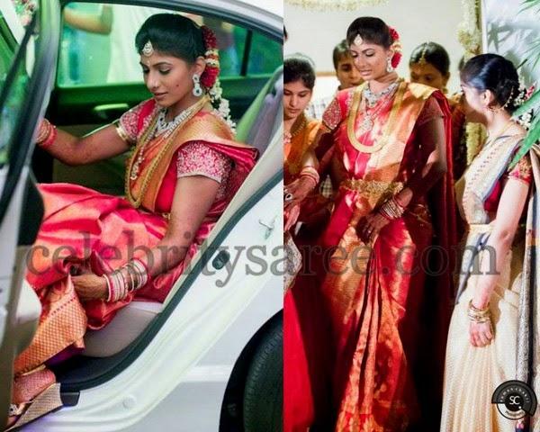 Bride in Kanjivaram Sari Crystal Blouse