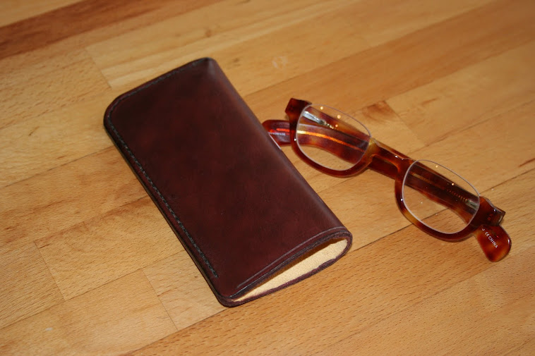 'Slip'case for spectacles. Hide , chamois lined.