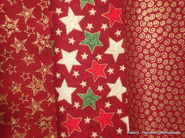 Telas navidad  2012 - Estrellas en fondo rojo