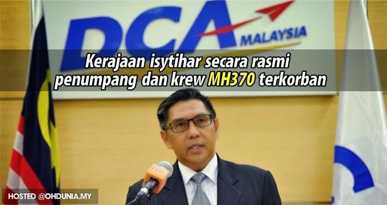 Kerajaan isytihar secara rasmi, penumpang & krew MH370 terkorban