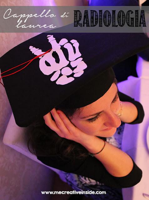 Cappello di laurea tocco radiologia con simbolo vittoria scheletro ME creativeinside