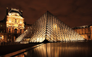 Paris Louvre Pyramid Night View HD Cityscape Wallpaper
