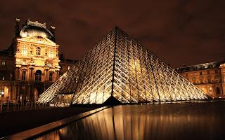 Paris Louvre Pyramid Night View HD Cityscape Wallpaper