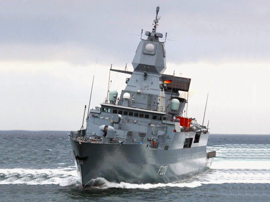 Explosion of SAM Standard SM-2 on the German frigate Saxony F219