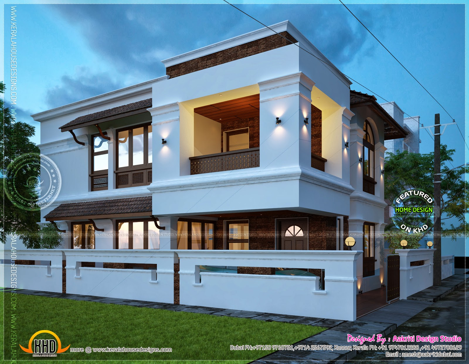 2450 square feet villa view night kerala home design and for Best modern villa designs