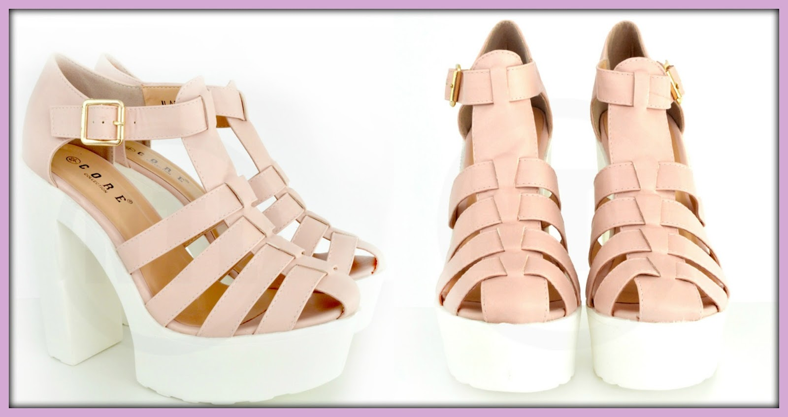 NEEDTHATLOOK.com Pink Chunky Heel Sandals