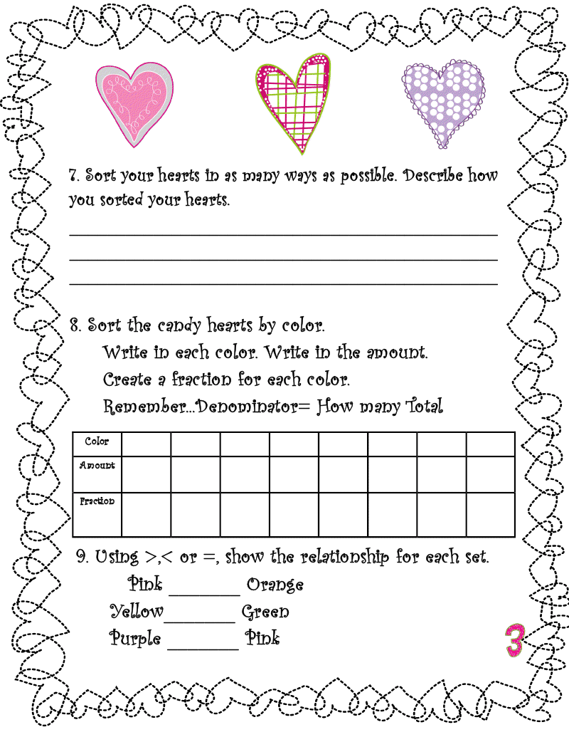 Valentines Day Math Activities Candy Hearts Quotes – Valentine Day Math Worksheets