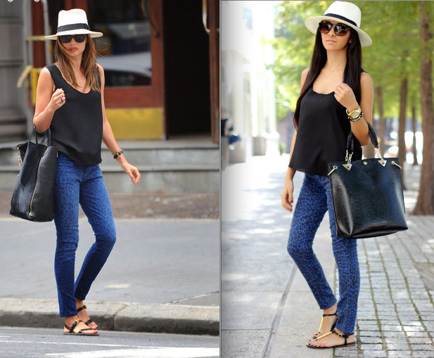 Get The Same Look For Less Miranda Kerr Blue Leopard Print Jeans