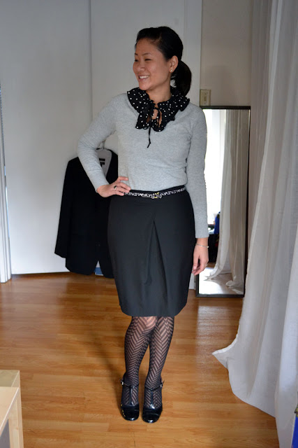 sacramento office fashion blogger angeline evans the new professional business casual old navy ruffle gap limited skirt steve madden mary janes hue herringbone tights jcrew belt