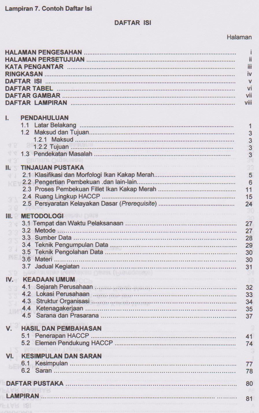 Kumpulan Contoh Daftar Isi Makalah