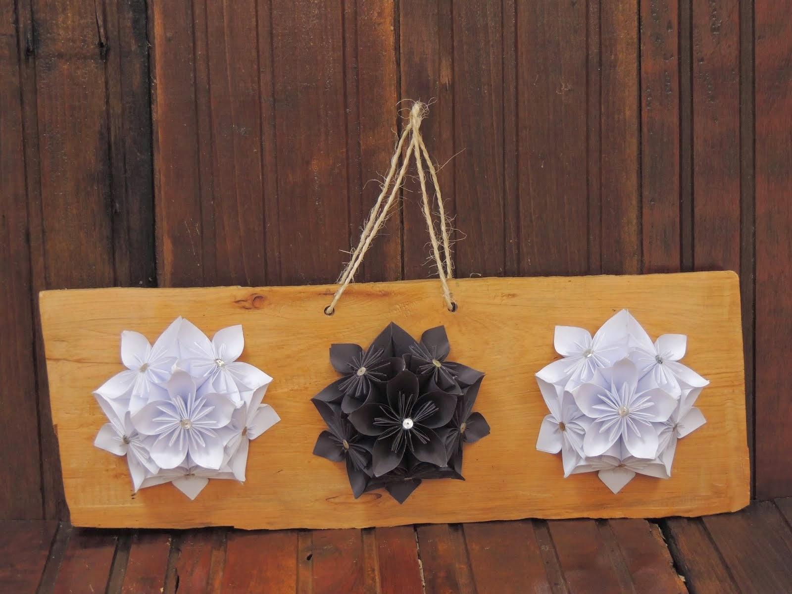 Flor de Origami em Madeira