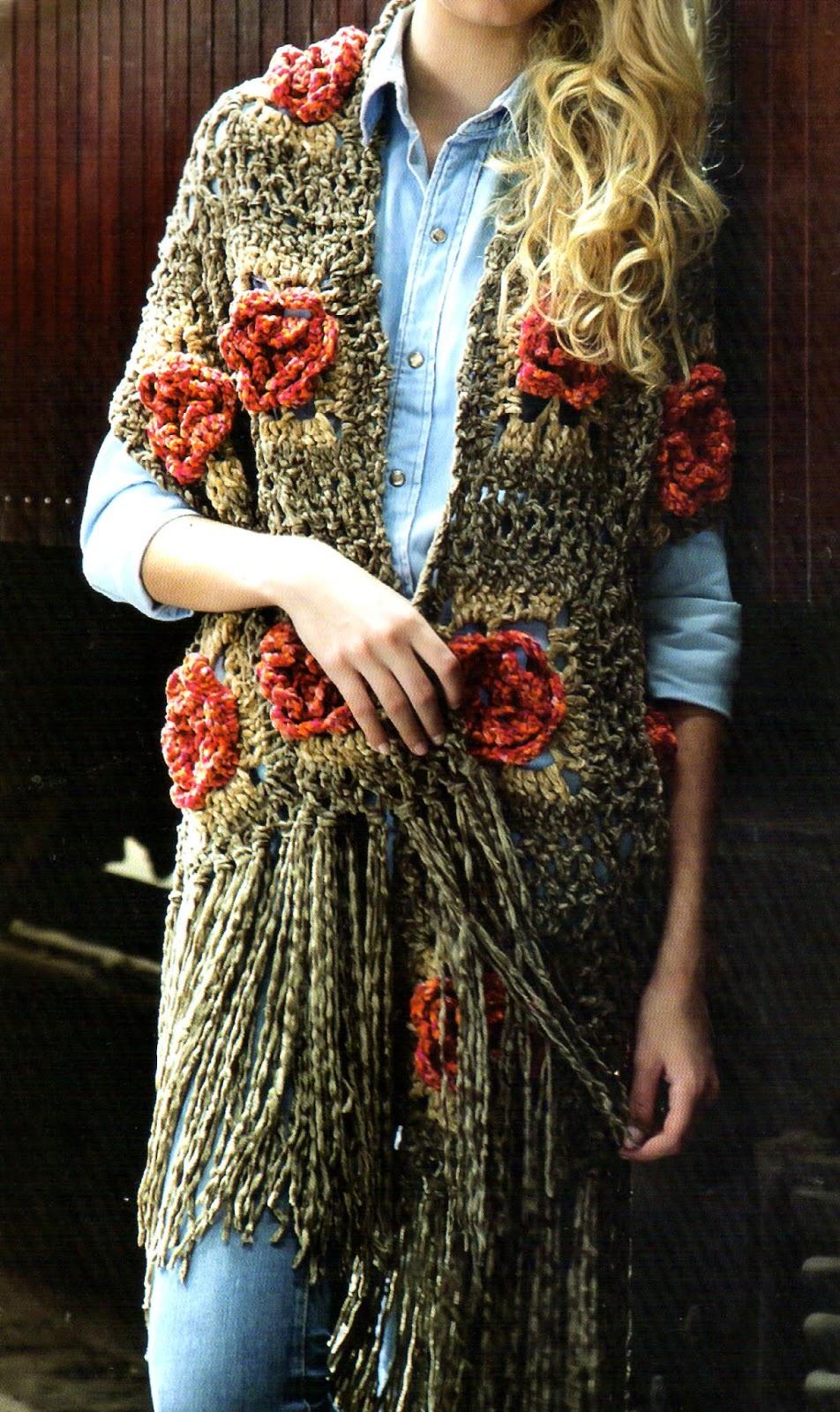 de fibra acrilica matizada en marron y crudo; Aguja de crochet nº 6