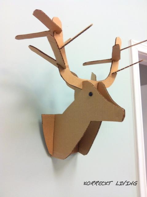 Korreckt living cardboard deer head gratitude - Cardboard stag head ...