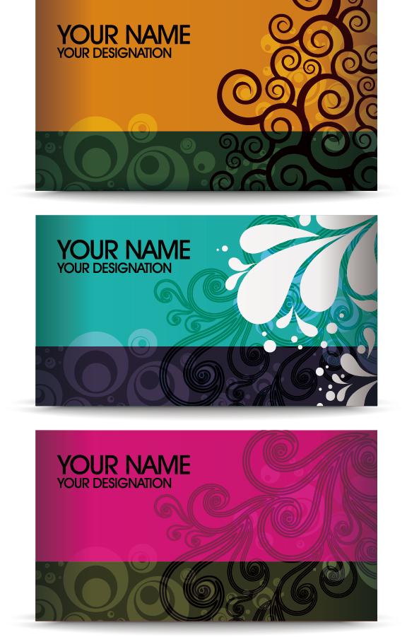 エレガントに蔓を巻いた名刺の背景 Elegant Floral Business Card イラスト素材