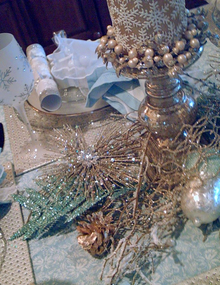 The Linen Blue And Cream Matches The Tablecloth. The Sheer White Over Top  With A Jeweled Napkin Ring From Pier One.