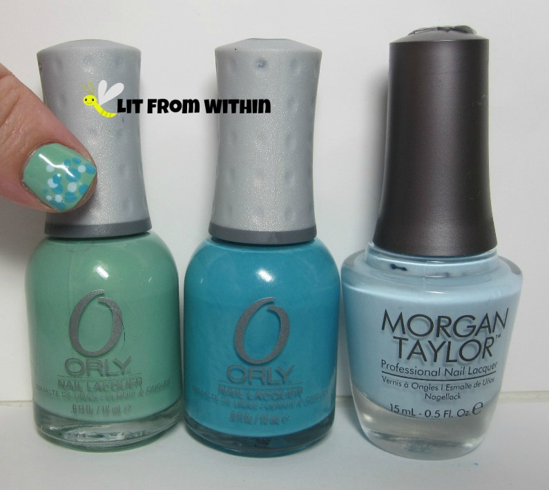 Orly Ancient Jade, Orly Water Lily, and Morgan Taylor Water Baby
