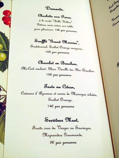 L'Auberge du 15 - Carte des desserts