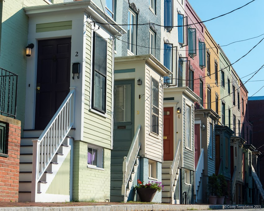 Portland, Maine USA August 2015 Doors on the row houses of Stratton Row in the West End. Photo by Corey Templeton.