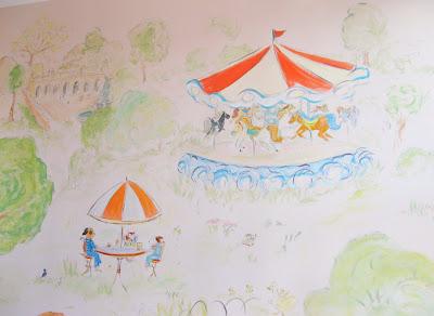 Blipadee central park nursery mural for Bemelmans bar mural