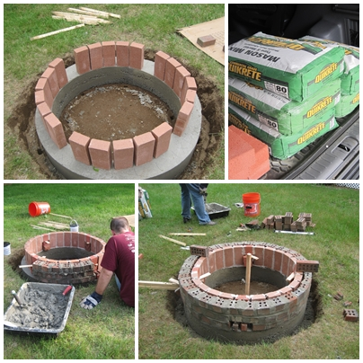 Grace and josie the diy brick fire pit project for Brick fire pit construction