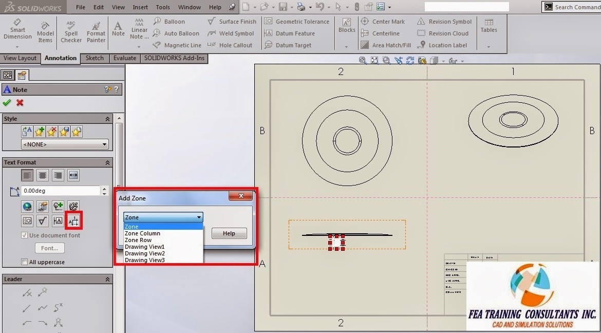 drawing zone in solidworks