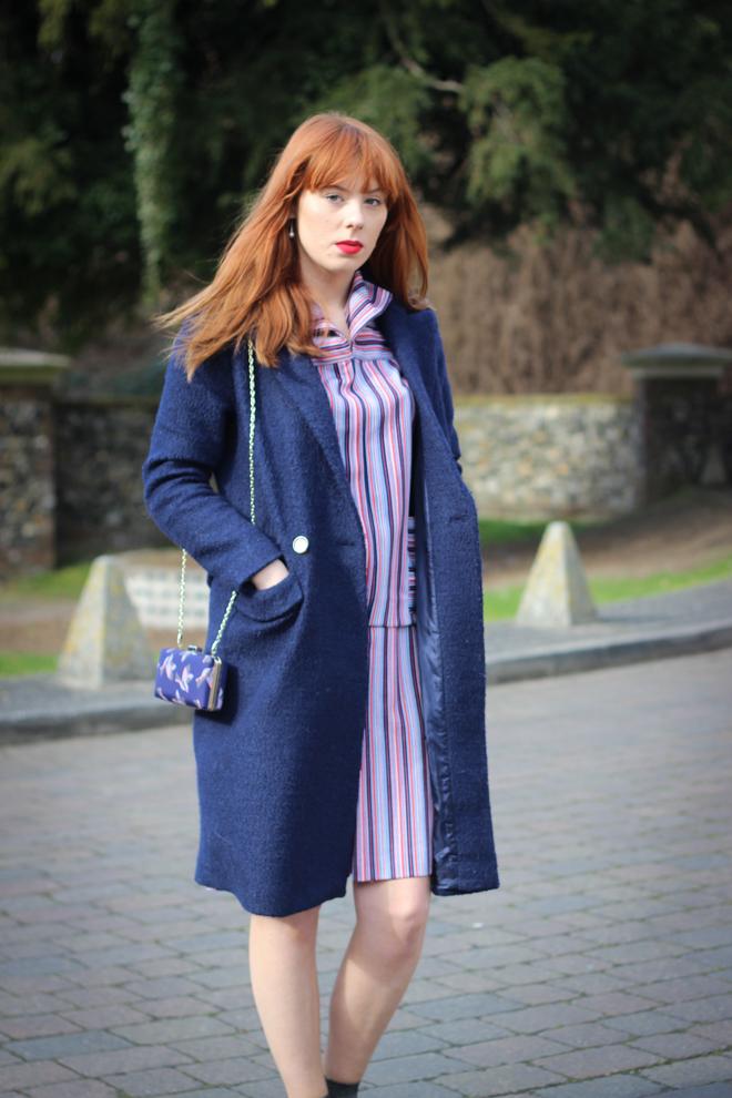 Asos navy long coat UK Fashion Blogger The Goodowl