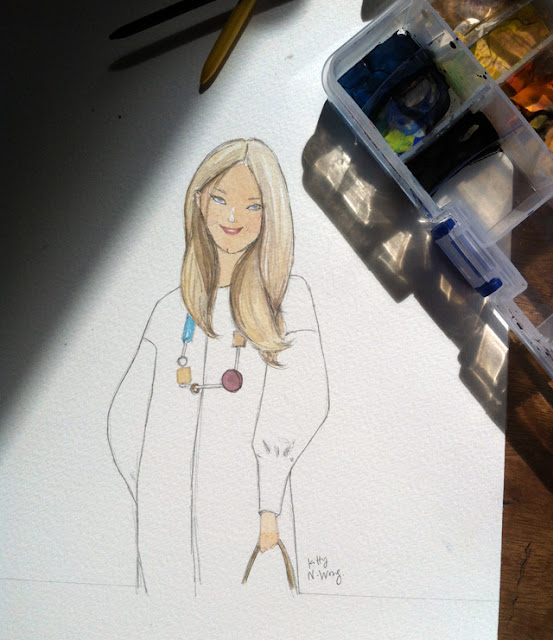 WIP of gouache drawing of Anya Hindmarch