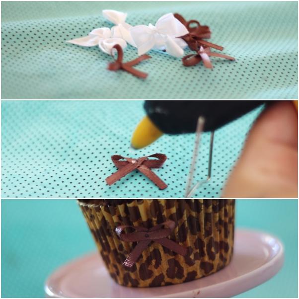 como colar um lacinho no cupcake