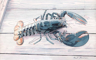 "Live Lobster - Watercolor - 13"" x 20"" - Before Reworking"