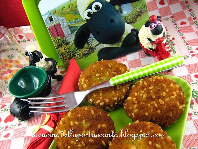 crocchette verdi al formaggio con panatura di nocciole