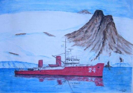 """El ROU 24 """"Cte. Pedro Campbell"""" en 1990, visto desde la Base Artigas"""