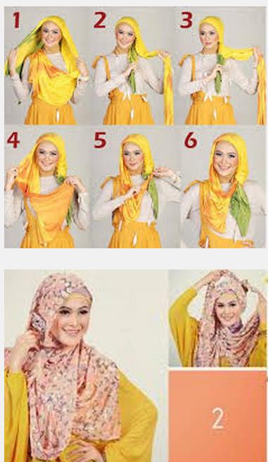 Contoh gambar tutorial jilbab pashmina ala april jasmine