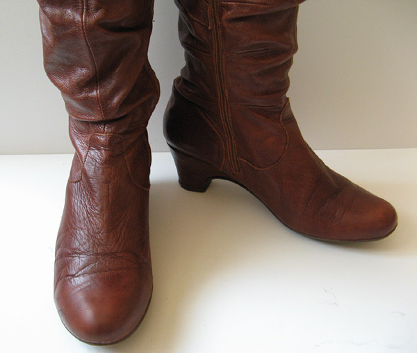 Good Closet Tall Brown Cognac Campus Leather Boots Womens