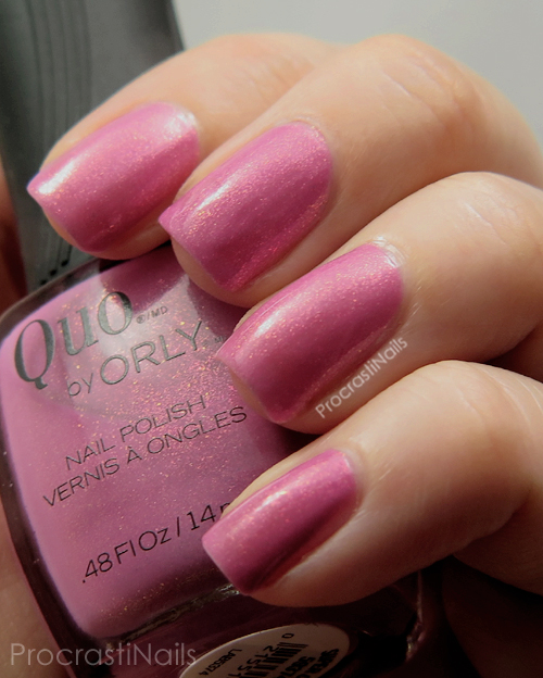 Swatch of Quo by ORLY Super Cute which is a bubblegum pink shimmer polish