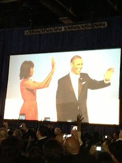 President and First Lady on the big screen at the Inauguration