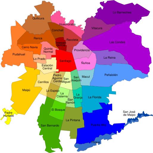 Map of santiago, chile neighborhoods