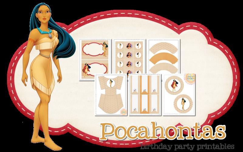 Imprimible gratis de Pocahontas - Fiesta de princesas