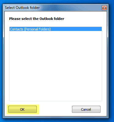 copytrans popup displaying outlook contact folders