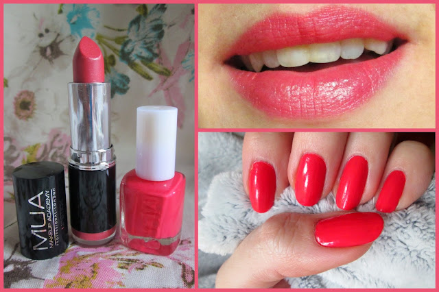 MUA makeup academy lipstick in shade7 and nail polish in bright coral. Swatch on lips with manicure. MUA look, nails and lips for summer and spring. Bright coloured cosmetics.