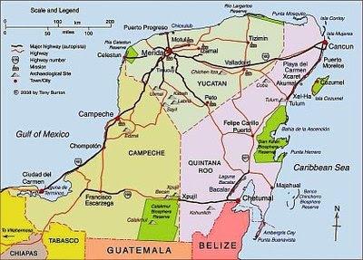 Mapa de Yucatán Peninsula Político Región