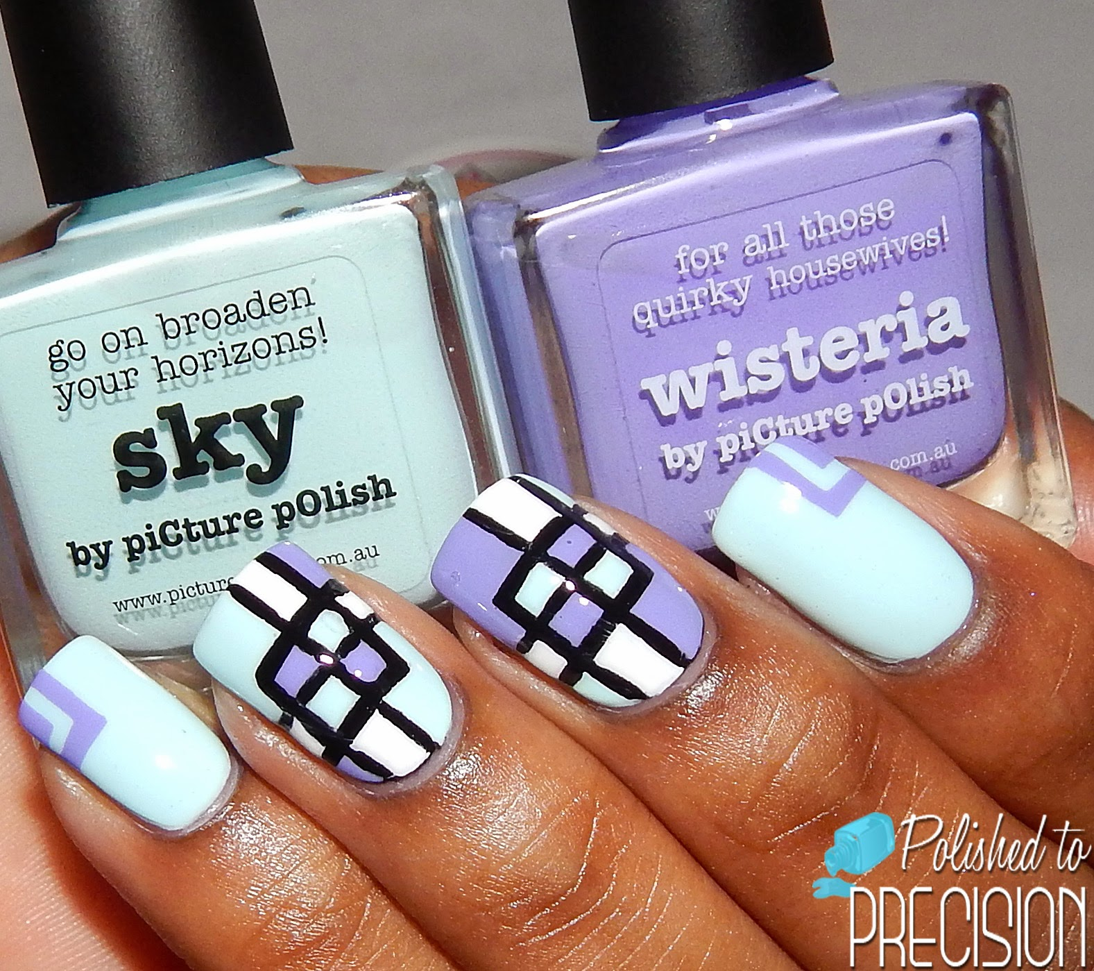 Picture Polish Sky and Wisteria Nail Art