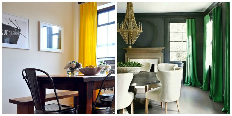 Coastal rooms with a splash of color in the fabric draperies