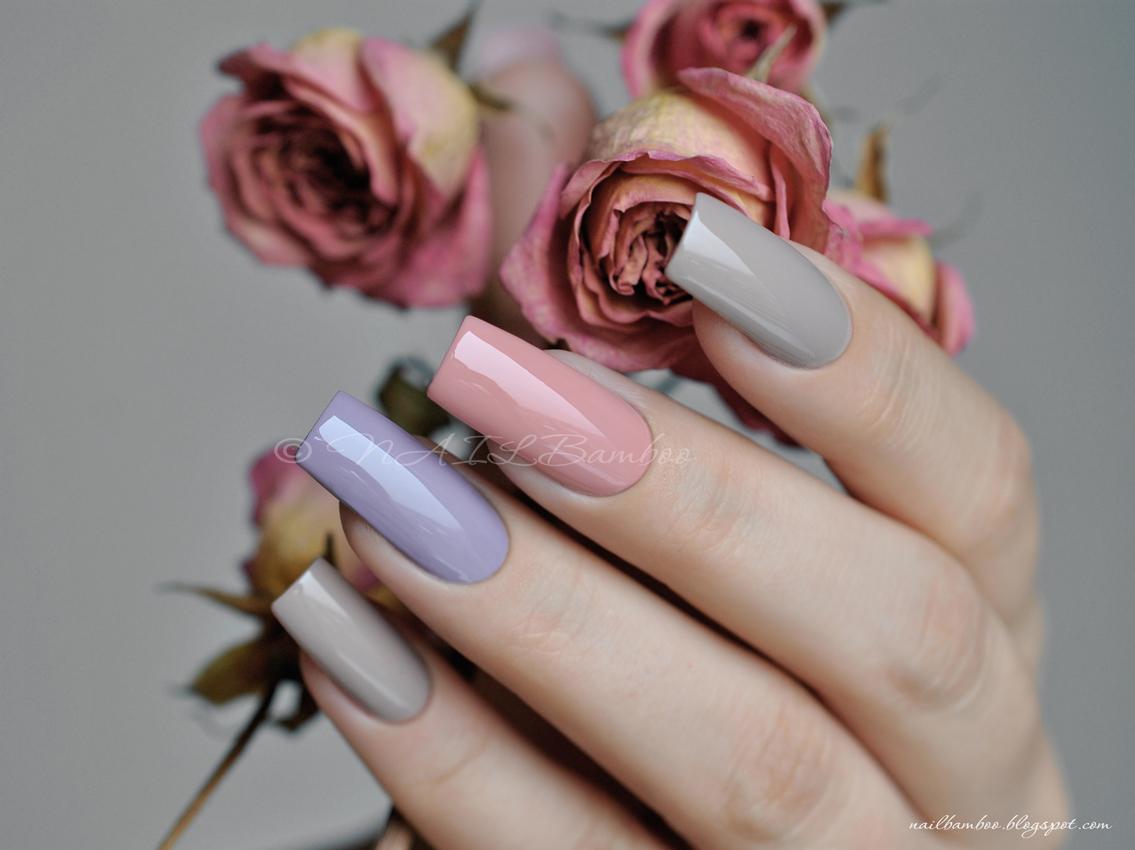 Цвет пыльной розы в маникюре 71