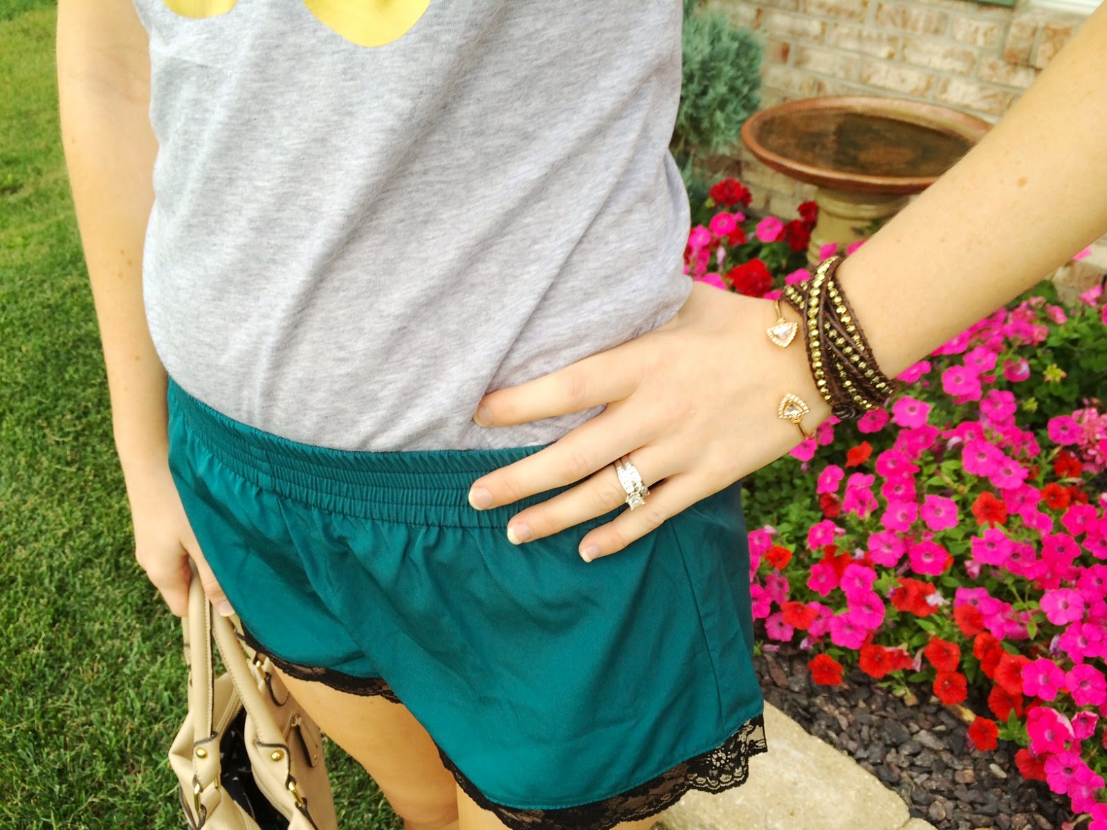 Jade green silk shorts with gold ampersand tee